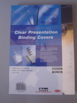 GBC CLEAR PLASTIC BINDING COVERS
