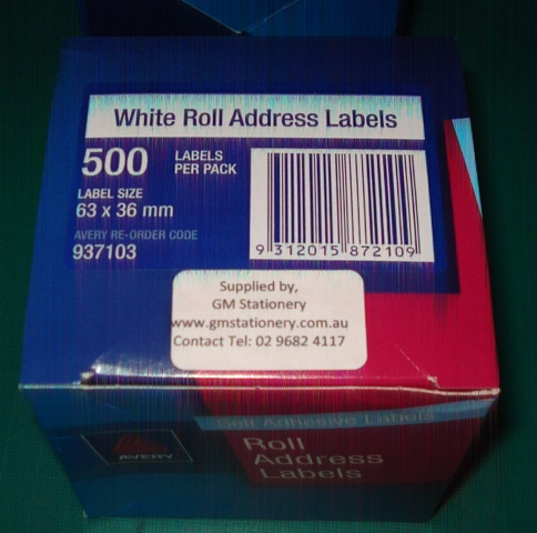 Avery 937103 Address Label 63x36mm 500 Per Roll - Free Ship.
