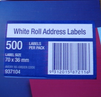 Avery 937104 Address Label 70x36mm 500 Per Roll - Free Ship.