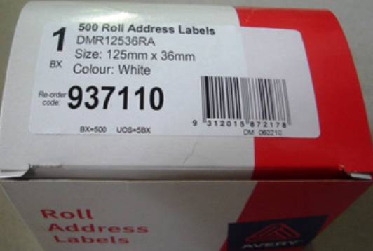 Avery 937110 Address Label 125x36mm 500 Per Roll - Free Ship.