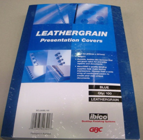 GBC 300gsm Leathergrain Binding Cover A4 Blue BCL300BL100