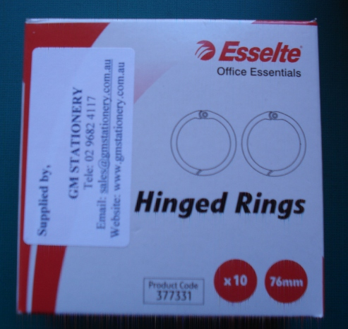 Esselte 377331 76mm Hinged Rings No 1 Box 10 - Free Ship.