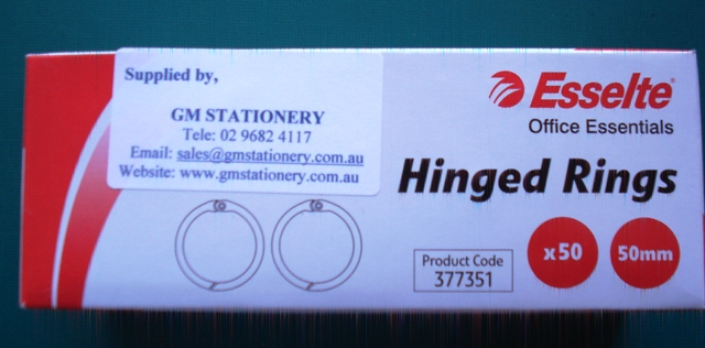 Esselte 377351 50mm Hinged Rings No 3 Box 50 - Free Ship.