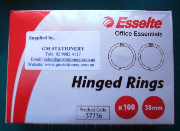 Esselte 37736 38mm Hinged Rings No 4 Box 100 - Free Ship.