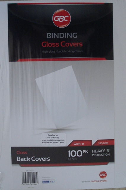 GBC 250gsm Gloss Binding Covers A4 White BCG250W100 Pk 100