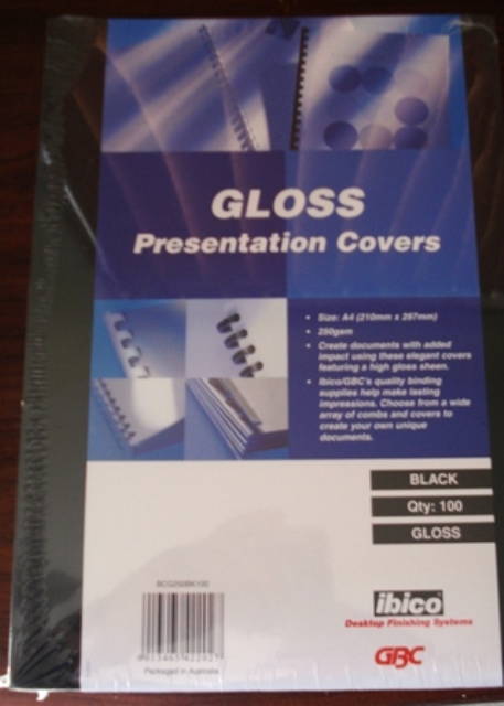 GBC 250gsm Gloss Binding Covers A4 Black BCG250BK100 Pk 100