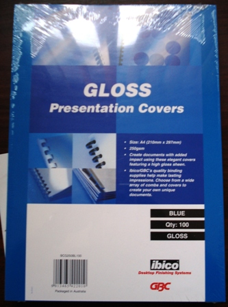 GBC 250gsm Gloss Binding Covers A4 Blue BCG250BL100 Pk 100