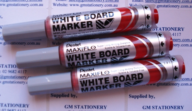 Pentel MWL5B Maxiflo Whiteboard Marker Red Bullet Point Box 12