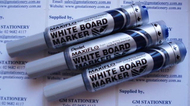 Pentel MWL5C Maxiflo Whiteboard Marker Blue Bullet Point Box 12