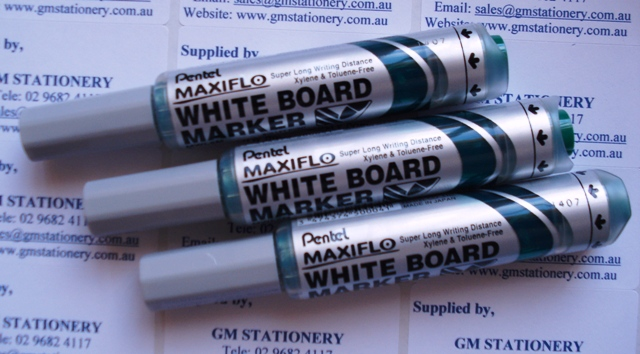 Pentel MWL5D Maxiflo Whiteboard Marker Green Bullet Point Box 12