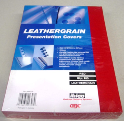 GBC 300gsm Leathergrain Binding Cover A4 Red BCL300R100