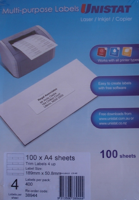 Unistat 38944 Trim Labels 189mm x 50.8mm 4 per Sheet Box 400