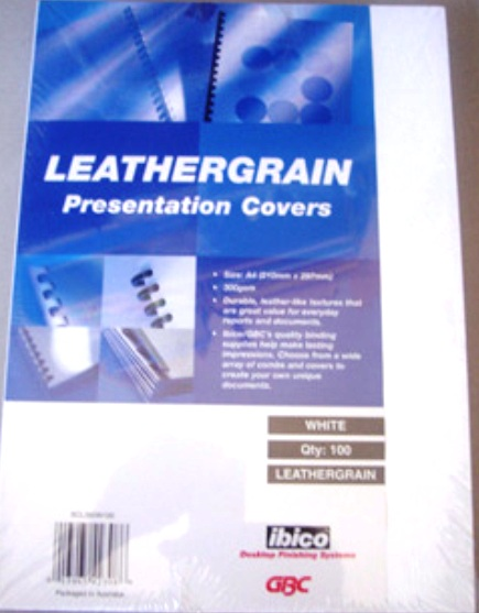 GBC 300gsm Leathergrain Binding Cover A4 White BCL300W100