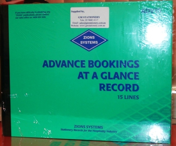 Zions ADV15 Advance Bookings At A Glance Record Book 15 line