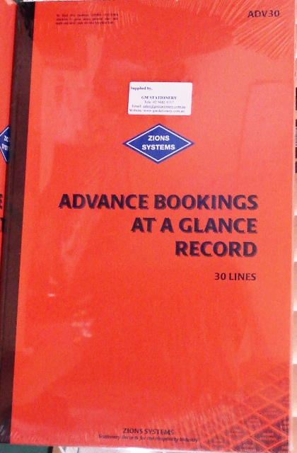 Zions ADV30 Advance Bookings At A Glance Record Book 30 line