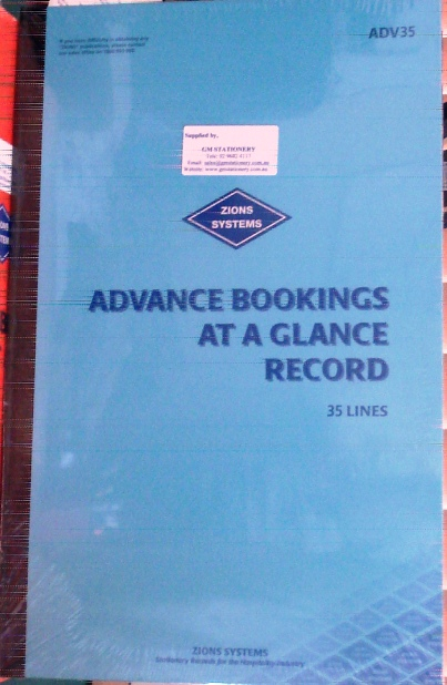 Zions ADV35 Advance Bookings At A Glance Record Book 35 line