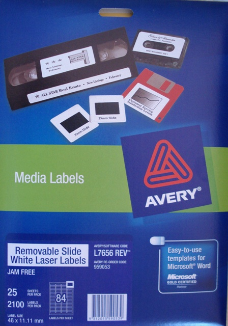Avery 959053 L7656-25 Removable 35mm Slide Laser Label 46x11.1mm